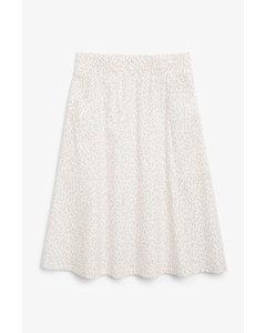 Cotton Midi Skirt Floral Print