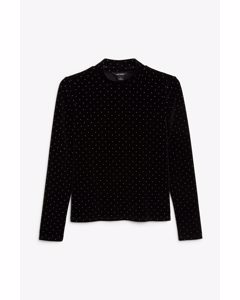 Gepunktetes Samt-Shirt mit Stehkragen Schwarz mit Punktemuster