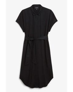 Belted Hidden Button Shirt Dress Black Magic