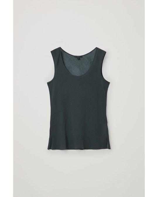 COS Plisse Sheer Cotton-silk Top Dark Grey