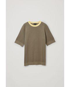 Cotton-knit T-shirt Khaki / Yellow