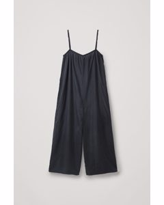 Wide Mulberry Silk Jumpsuit Black