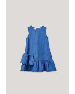 Denim Dress With Frills Blue