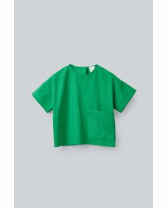 Patch Pocket Cotton-linen Top Green