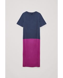 Baumwollenkleid in colour block Lila/Magenta