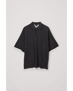 Striped Knitted Polo Shirt Black / White
