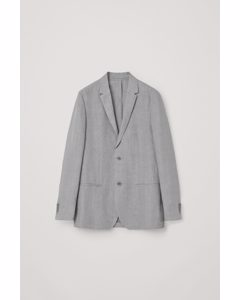Slim-fit Linen Blazer Grey
