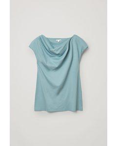 Cowl Neck Organic Cotton Top Blue