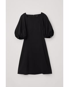 A-line Drawcord Puff Sleeve Dress Black