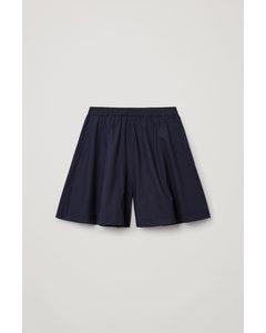 Organic Cotton Pleated Shorts Navy