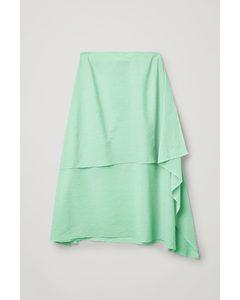 Plisse Organic Cotton Double Layer Skirt Green