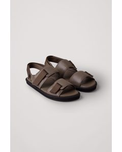 Chunky Leather Sandals Grey