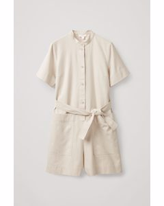 Cotton Playsuit With Pockets Beige