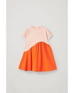 Organic Cotton Contrast Panel Dress Pink / Orange