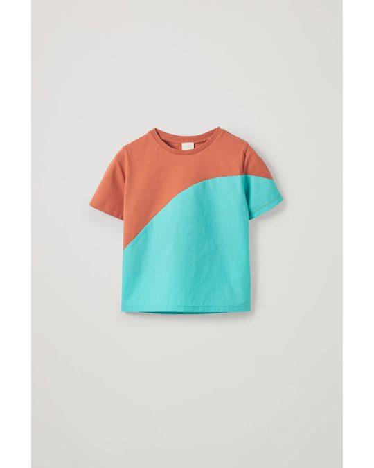COS Colour-block Organic Cotton T-shirt Orange / Blue