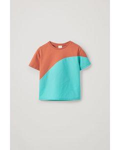 Biobaumwoll T-shirt mit colour-block Orange