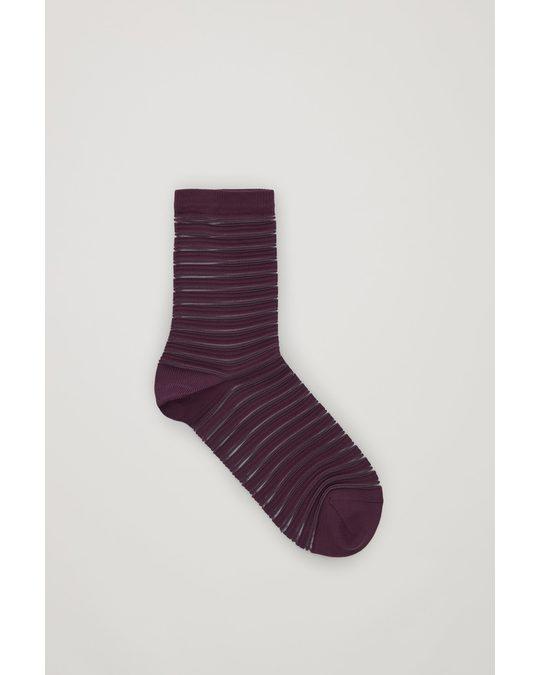 COS Sheer-Striped Socks Burgundy