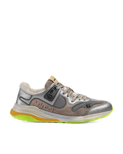 Gucci Ultrapace Leather Sneakers Silver