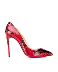 Christian Louboutin Decollete Python Leather Pumps Red