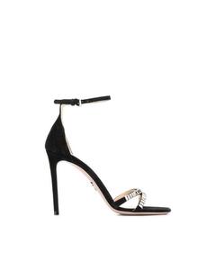 Prada Crystal Embellished Suede Sandals Black