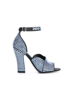 Prada Embellished Satin Sandals Blue