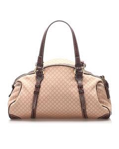 Celine Macadam Canvas Handbag Brown
