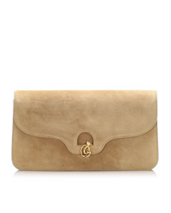 Gucci Suede Leather Clutch Bag Brown