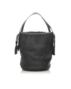 Bottega Veneta Intrecciato Leather Shoulder Bag Black
