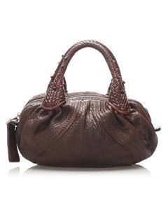 Fendi Spy Leather Handbag Brown