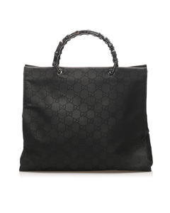 Gucci Gg Nylon Bamboo Tote Bag Black