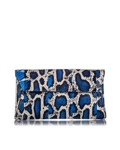 Alexander Mcqueen Python Clutch Bag Blue