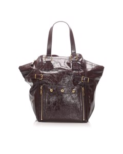 Ysl Downtown Patent Leather Tote Bag Brown