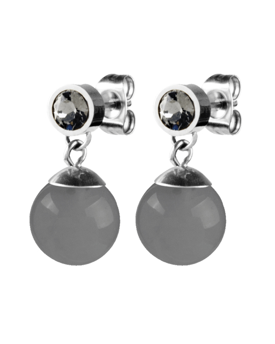 Dyrberg/Kern Bess Ss Grey Opal Polished Brass, Silvertone Finish And Crystals