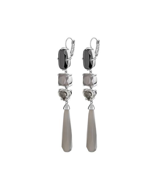 Dyrberg/Kern Maddia Ss Grey Polished Brass, Silvertone Finish And Crystals