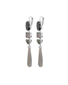 Maddia Ss Grey Polished Brass, Silvertone Finish And Crystals