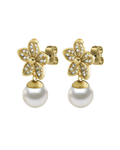 Nanda Sg White Brass, Goldtone And Polished With Crystals