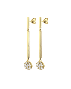 Margot Sg Crystal Sterling Silver Earring, Goldplated With Preciuos Stone