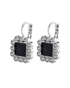 Chloe Ss Black Polished Brass, Silvertone Finish And Crystals