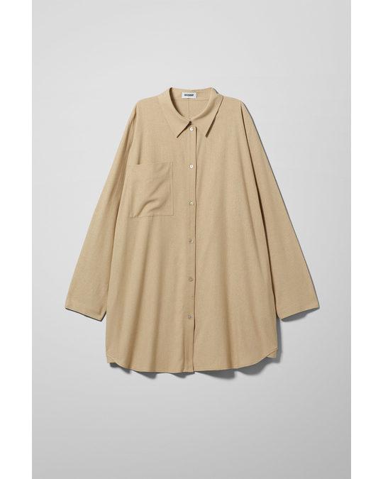 Weekday Tate Silk Shirt Beige
