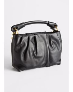 Gathered Leather O-ring Bag Black