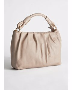 Gathered Leather O-ring Bag Beige