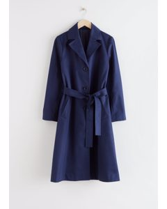 Belted A-line Twill Trenchcoat Dark Blue