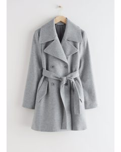 Double Breasted Belted Coat Grey