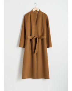 Belted Wool Blend Coat Camel