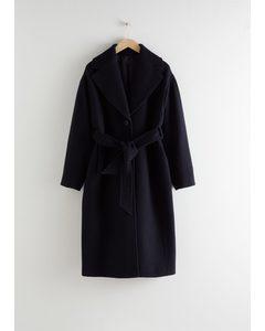 Oversized Belted Wool Coat Navy