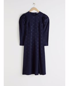 Horse Jacquard Midi Dress Blue