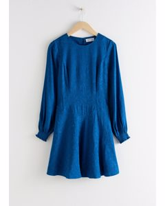 Jacquard Puff Sleeve Mini Dress Blue