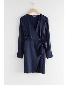Crepe Wrap Mini Dress Blue
