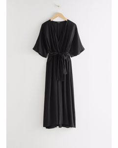 Side Slit Midi Wrap Dress Black