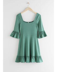 Ruffle Trim Mini Dress Green